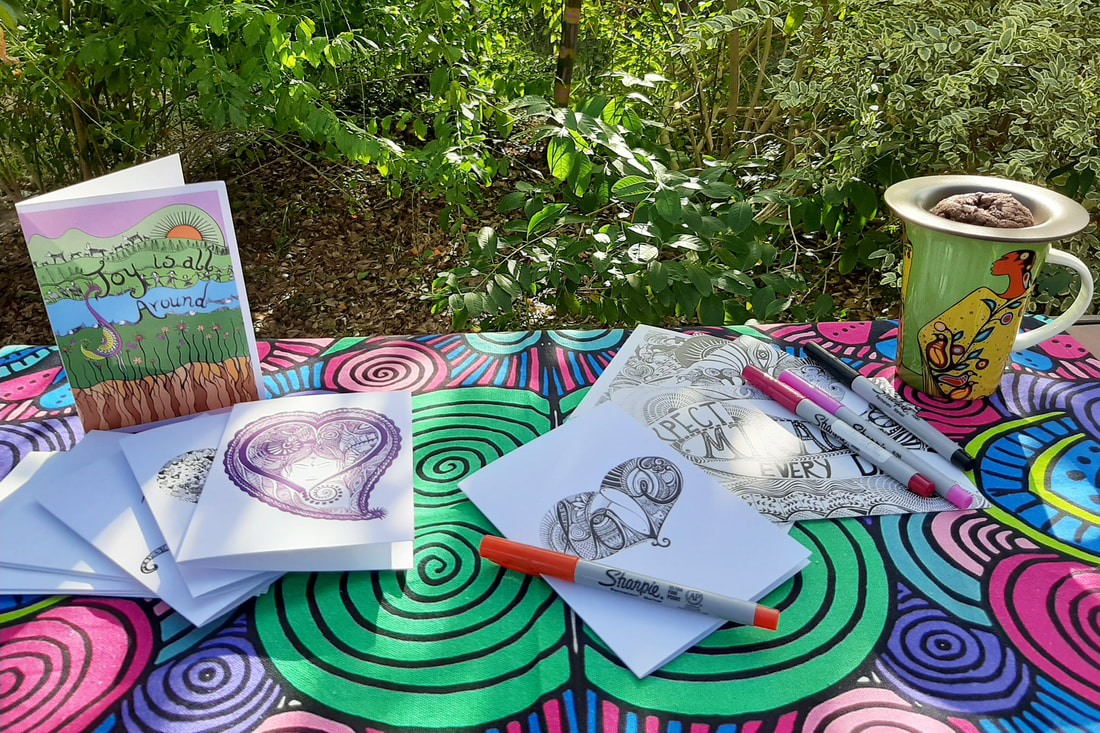 divine treasure, divine lifestyle, zentangle art, houston, texas, artist, loveleen saxena, bohemian art, divine designs, high vibe, love, affirmations, greeting cards, meaningful, blank cards, spread love, inspirational, holiday ritual, joy giving, snail mail, sacred ritual