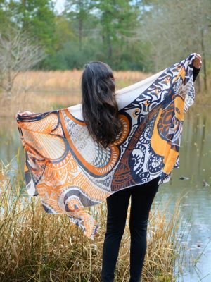 I embody peace orange heart modal scarf