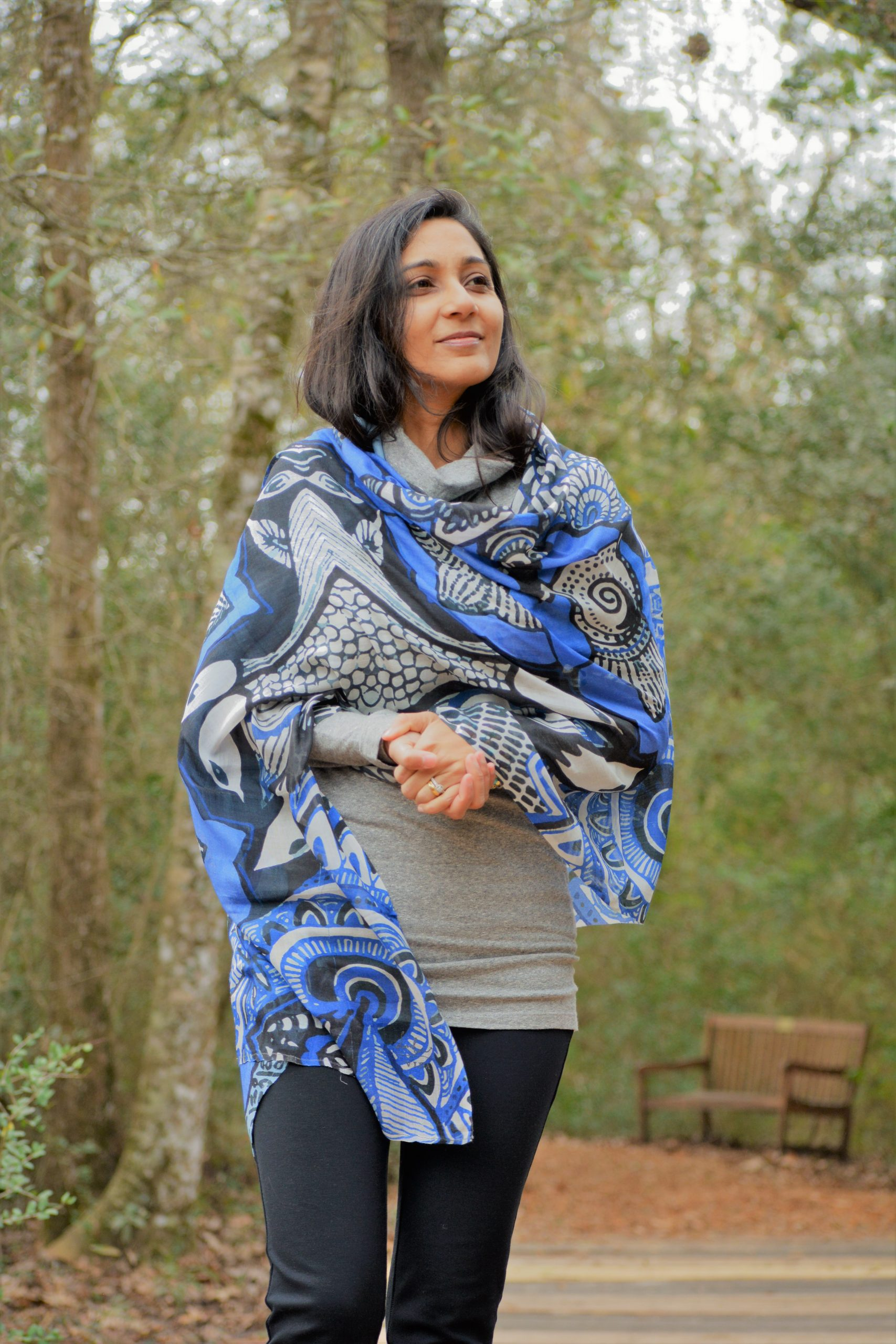 blue and black scarf: nature is my zen