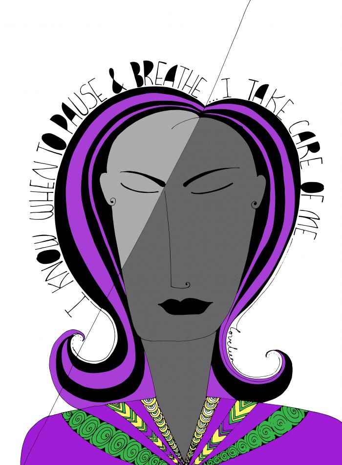 purple pause and breathe art print