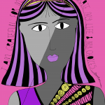 grateful for experiences art print: purple with pink background