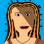 choose love and kindness art: brown with blue background
