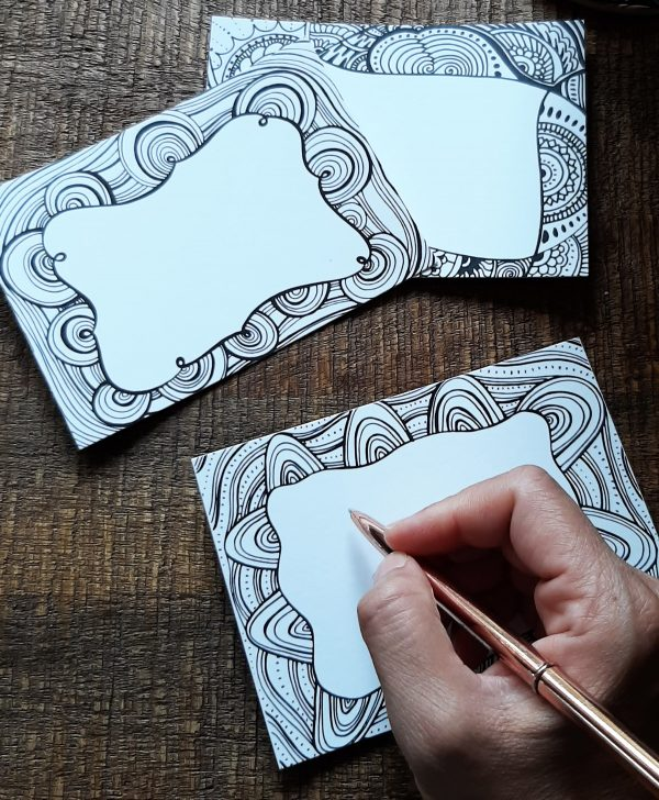set of small doodle love art cards