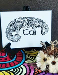 dream word art card: inspire and uplift