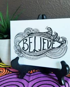 inspire and uplift: believe word art card