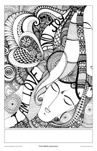 love and joy art print - coloring page