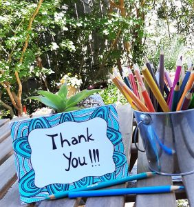 thank you card with blue color