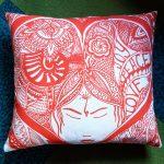 joy peace love pillow-red