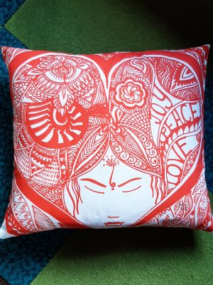 joy peace love pillow-red