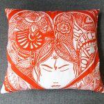 joy peace love pillow - orange