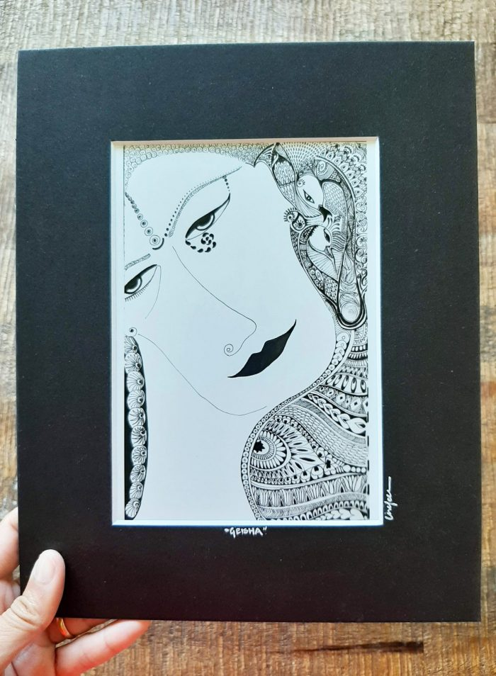 geisha - matted art print with frame
