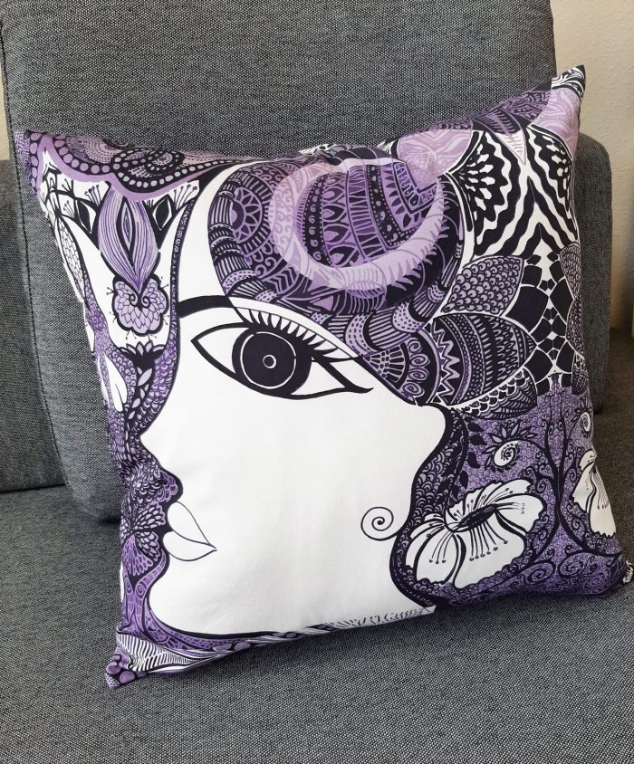 purple accent pillow: i embody my inner beauty
