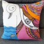 i feel connected to all beings pillow in sofa