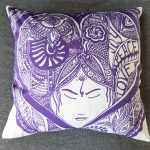 joy peace love pillow - blue