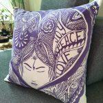 joy peace love pillow-blue