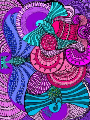 birds soaring high - pink and puple