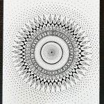 manadala art print in a wood panel - black and white
