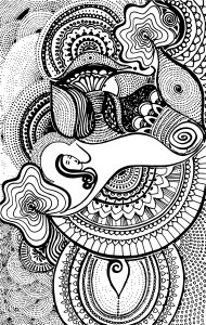 black and white art design modal scarf