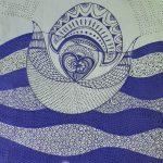 Love birds blue tea towel