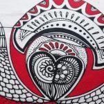 red love birds tea towel