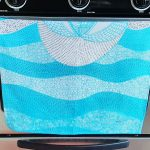love birds tea towel - sky blue