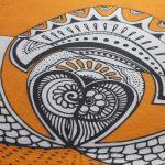 love birds tea towel - orange