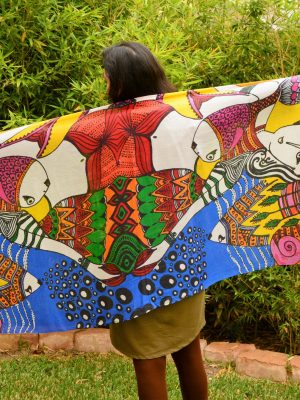 I live in color - fish and girl modal scarf