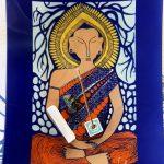 blue buddha art piece