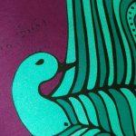 bird soaring high - sea green and magenta