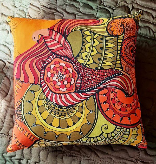 soaring high pillow-orange-red