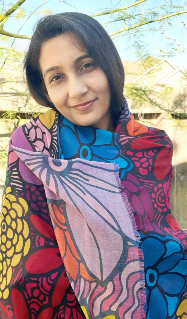 flower blooming lenzing modal scarf