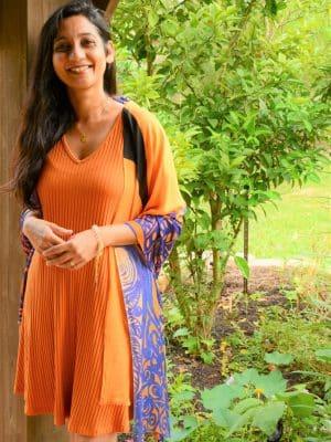 divine truth - orange and blue modal scarf