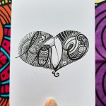 Love in a heart gift card - black and white