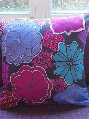 flowers blooming pillow - purple and blue