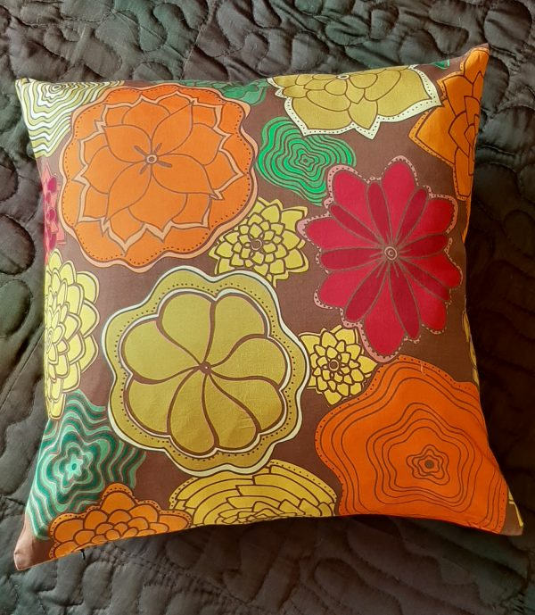 flowers blooming pillow - orange and red