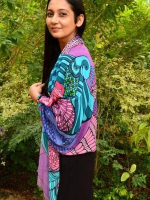 turquoise blue bird modal scarf