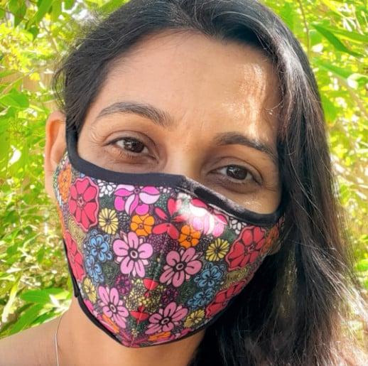 Flower print designed face mask