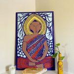 I invoke peace - Golden Buddha wood panel