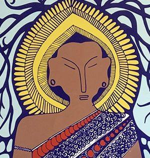 LS-Buddha-blue-wood-panel-2-a
