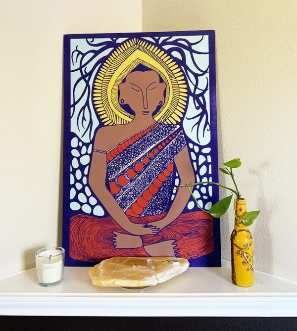 Peaful Golden Buddha Art design, on wood panel