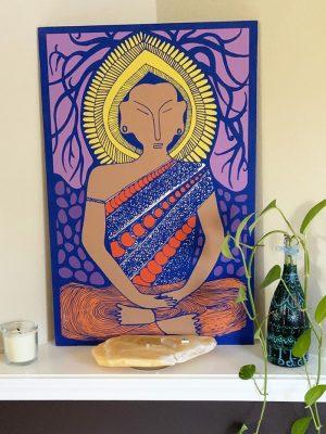Peaful Golden Buddha Art on Wood Panel: Achieve Enlightenment