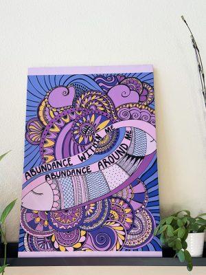 abundant like nature art design on wood panel - purple and pink