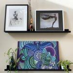 bird spreading wings arts design - wood panel