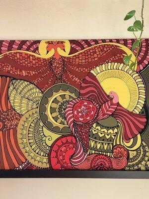 spreading wings bird art design, on wood panel