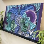 four birds spread wings - blue and sea green wood panel
