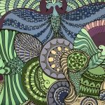 Four birds soar high wood panel - sea green