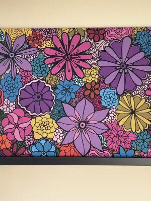 timeless beauty wild flowers art design on wood panel