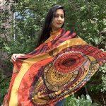 A Fresh start - peacock orange modal scarf
