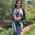 pink and sea green modal scarf