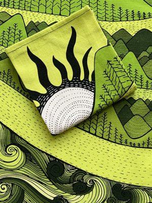 I love nature - folded green tea towel